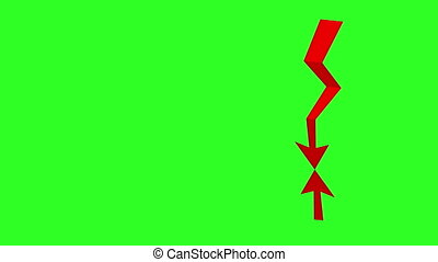Red arrow financial down concept, green screen background....