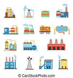 Industrial building factories and plants icons set isolated...