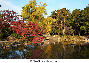 oriental landscape - summer japanese landscape with pond and...