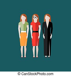 women appearance icons. people flat icons collection