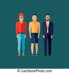 men fashion style illustration in flat style
