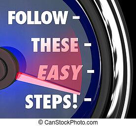 seguire, questi, facile, Passi, tachimetro, istruzioni,...