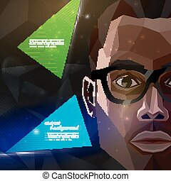 illustration with an african american man face in polygonal style. modern poster or flyer with fashion, beauty or entertainment concept