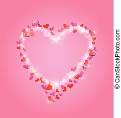 Valentine's day or Wedding pink background with Red hearts confe