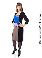 Woman with folder in business suit - Woman with folder in...
