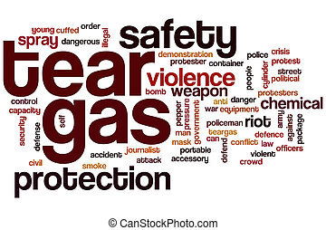 Tear gas word cloud concept
