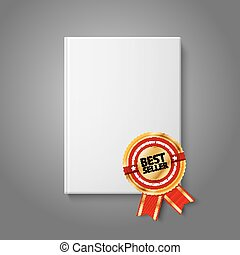Realistic white blank hardcover book, front view with golden...