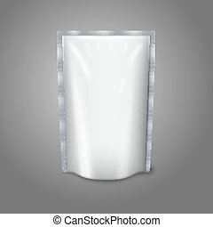 Blank white realistic plastic pouch isolated on grey background with place for your design and branding. Vector