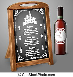 Menu template on chalkboard - for alcohol with realistic red wine bottle, and label. Vector