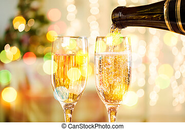 Two Champagne Glasses On Defocused Background Living Room...