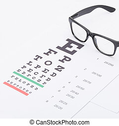 Eyesight test chart with glasses over it - healthcare...