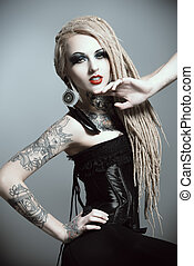 gothic woman - Gorgeous sexy girl with black make-up and...