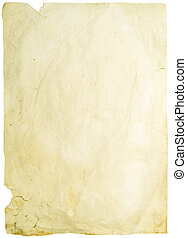 old wrinkled paper isolated on white