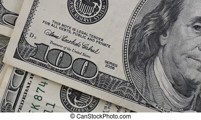 American money - A very close panning video of used American...