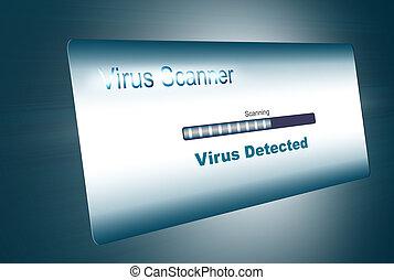 virus scan, virus detected, led screen illustration
