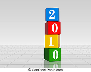 colour cubes with 2010 with reflection