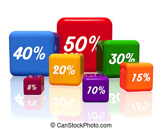 different percentages in color