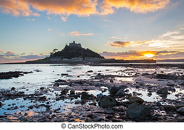 St Michaels Mount Sunset - Dramatic sunset on the beach at...