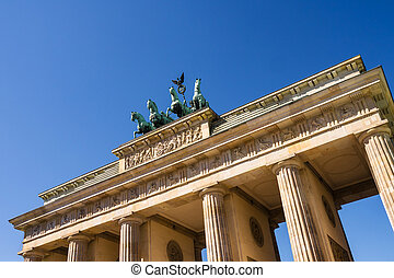 brandenburger tor in berlin with blue summer sky