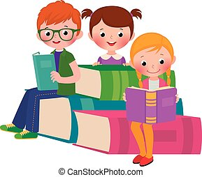 Children reading books - Stock Vector cartoon illustration...