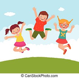 Funny jumping children