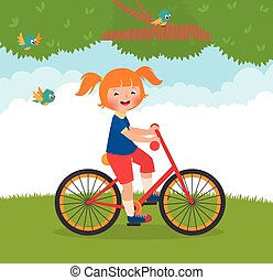 Joyful child rides a bike - Stock Vector cartoon...