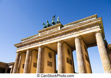 brandenburger tor berlin with blue summer sky