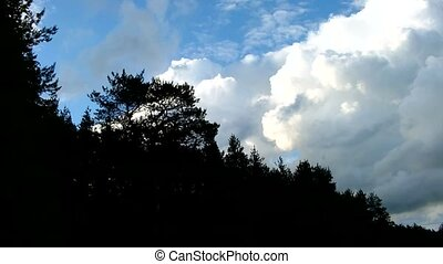 Time lapse clip of white fluffy clouds over blue sky (in a...