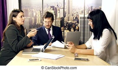 Business woman explaining strategy to boss in office