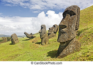 Rapa Nui National Park - Moais in Rapa Nui National Park on...