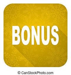 bonus flat icon, gold christmas button