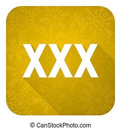 xxx flat icon, gold christmas button, porn sign