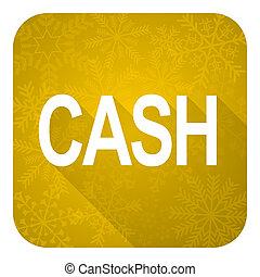 cash flat icon, gold christmas button