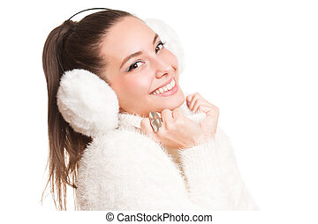 Getting cold - Gorgeous happy young brunette in warm winter...