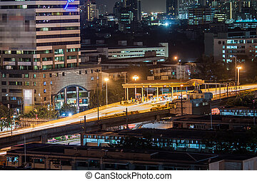 Night time of toll express way station ,Bangkok Thailand