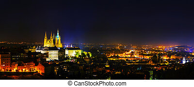 Panoramic overview of Prague at night