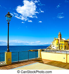 Camogli church on sea, lamp and terrace Ligury, Italy -...