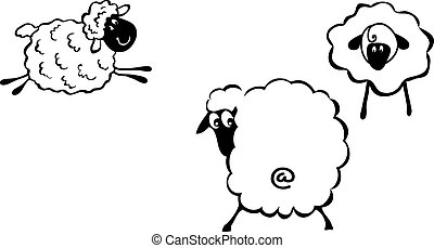 Sheep - Cartoon sheep, fanny sheep characters, 2015 - year...