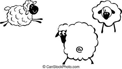 Sheep - Cartoon sheep, fanny sheep characters, 2015 - year...