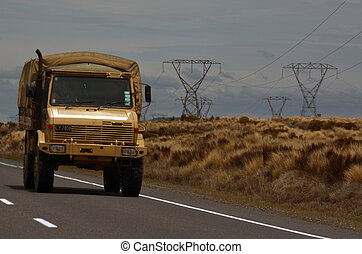 New Zealand army vehicle drive on Desert road - WAIOUR, NZ -...
