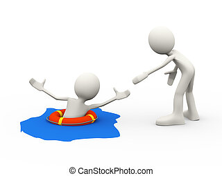 3d person helping drowning man - 3d illustration of man...