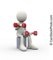 3d sitting man doing dumbbell exercise
