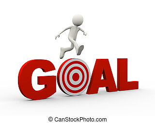 3d person jumping over word target goal - 3d illustration of...