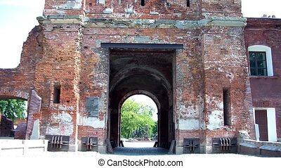 Terespol gate at the Brest Fortress in Brest, Belarus. Here...