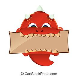 Red Devil - vector illustration of a red devil biting a...