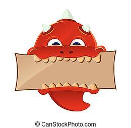 Red Devil - vector illustration of a red devil biting a...
