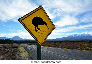 Beware of Kiwi roadsign - NATIONAL PARK, NZ - DEC 8...