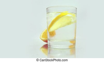 Cool lemon drink with ice.