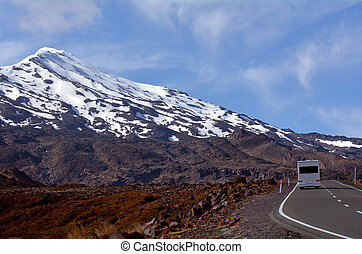 Campravan drive up Mount Ruapehu - NATIONAL PARK, NZ - NOV...