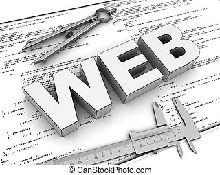 web design - 3d illustration of blueprints and text 'web'